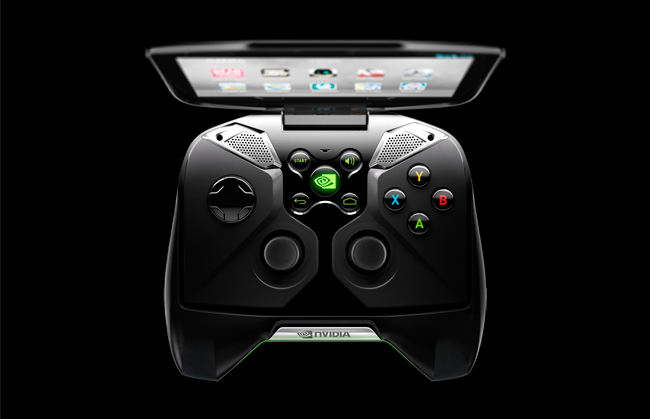 Vista superior de SHIELD, consola portable presentada por Nvidia.